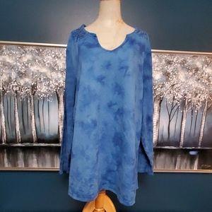 Avenue tie-dye hippie boho pullover henley top